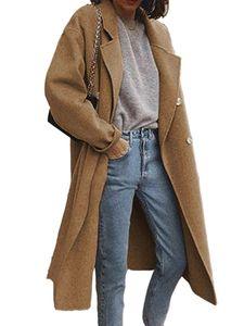 Damen Wollmantel Trenchcoat Damen warmen langen Mantel,Farbe: braun,Größe:S