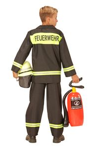 Kinder-Kostüm Feuerwehr-Kostüm  schwarz, 2-tlg. Gr. 104 Verkleidung Ausrüstung Uniform Anzug Feuerwehr-Anzug