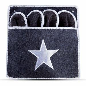 Premium Gästepantoffel STAR Grau Stern | 5er Set | Gästehausschuhe | Pantoffeln | Hausschuhe