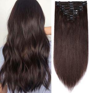 Clip in Extensions Echthaar Doppelt Tressen Haarverlängerung 8 Teiliges SET 100% Remy Hair für komplette Kopf Dunkelbraun 45 cm