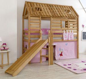 Hochbett Tom´s Hütte 1 Kinderbett Rutsche Spielbett Bett Natur Stoff Prinzessin
