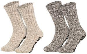 Tobeni 2 Paar Damen Herren Stopper-Socken mit Schafwolle und rutschfester ABS-Sohle Kuschel-Socken ohne drückende Naht, Farbe:Natur-Töne, Grösse:35-38