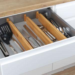 4er Set Bambus Schubladenteiler Besteck-Einteiler Besteckeinsatz Teiler