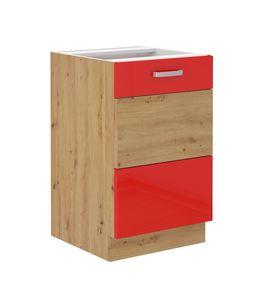 Spülenschrank 50 cm Eiche Artisan + Rot Hochglanz Küchenzeile Küchenblock Küche