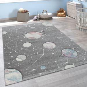Kinder-Teppich, Spiel-Teppich Für Kinderzimmer Mit Planeten Und Sternen, In Grau, Grösse:120x170 cm