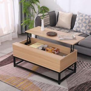 Couchtisch Kaffeetisch mit höhenverstellbarer Platte Ausziehbarer - Wohnzimmertisch Sofatisch für Wohnzimmer 100x51x43.5cm Holzfarbe