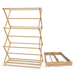 VOUNOT Klappbarer Wäscheständer, ausziehbarer Turmwäscheständer, platzsparender Standtrockner mit 3 Ebenen, aus Metall, Holzoptik
