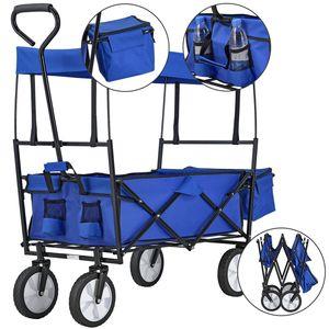 Juskys Bollerwagen faltbar mit Dach und Tasche | Gummiräder | Stoff schmutzabweisend | Handwagen bis 80 kg belastbar | blau