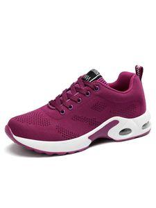 Damen Air Cushioned Sneakers Modisch erhöhter Schnürsenkel Einzelschuh Mesh atmungsaktive Sneakers,Farbe: Violett,Größe:38