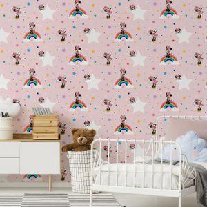 Disney - Papiertapete - Regenbogen Minnie - Rosa - 10mx53cm
