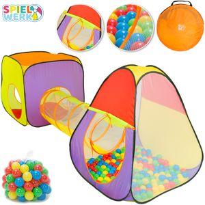 Spielwerk® Bällebad Spielzelt 3-teiliges XL Spielhaus Pop Up Funktion inkl. 200 Bälle Tragetasche Spieltunnel Netzfenster