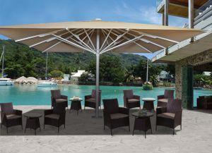 Gastronomie-Luxus-Sonnenschirm HWC-D20b, XXL-Schirm Marktschirm, 5x5m (Ø7,2m) Polyester/Alu 75kg  beige