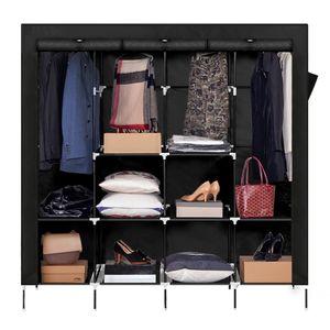 Kleiderschrank Höhe 180cm, Stoffschrank Faltschrank mit 4 Kleiderstangen und 2 Taschen, 180cm*170cm*45cm, Schwarz - Meerveil