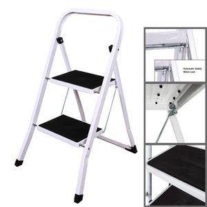 Trittleiter 2 Stufen klappbar, Klapptritt aus Metall mit Haltebgel und groen Stufen, Klapptreppe bis 150 kg