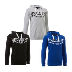 UNCLE SAM Sweatshirt Herren Kapuzen Hoody mit Kangarooh-Tasche und Kapuze , Größe:L, Farbe:Grey