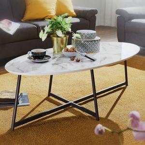 WOHNLING Design Couchtisch Oval 120x60 cm mit Marmor Optik Weiß | Wohnzimmertisch mit Metall-Beine Schwarz | Großer Beistelltisch