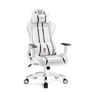 Diablo X-One 2.0 Gaming Stuhl Bürostuhl Schreibtischstuhl Verstellbare Armlehnen Ergonomisches Design Nacken/-Lendenkissen (Weiß, Normal)