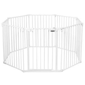 COSTWAY Baby Kaminschutzgitter klappbar, Laufgitter mit Sicherheitstür, Ofenschutzgitter inkl. Wandhalterung, Konfigurationsgitter aus Metall, Absperrgitter Weiß 8 Elemente