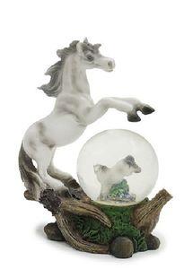 Glitzerkugel Pferd, weiß, 11,5cm,  Schneekugel Tiere Tier Schneekugeln Pferde Pony