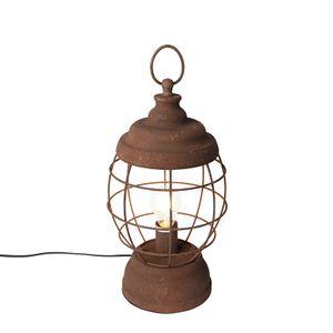 QAZQA - Landhaus | Vintage | Rustikal Rustikaler Tischlampenrost - Lentera | Wohnzimmer | Schlafzimmer - Metall Rund - LED geeignet E27