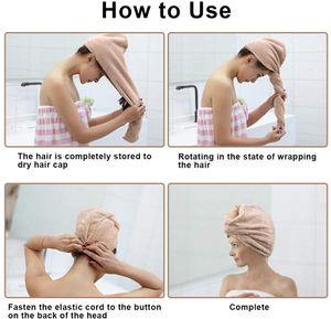 Turban Handtuch, Haartrockentuch mit Knopf, Mikrofaser Haarturban, Schnell Trocknend Verdickt Wrap Turban für Alle Haartypen (2PCS)