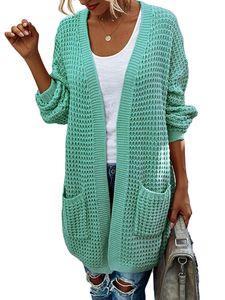 Damen Farbblock drapiert Kimono Cardigan Langarm Open Front Casual Strickpullover Mantel,Farbe: Grün,Größe:XL