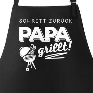 Grill-Schürze für Männer mit Spruch Schritt zurück Papa grillt Baumwoll-Schürze Küchenschürze Moonworks® schwarz unisize