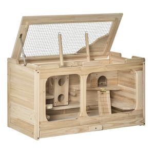 PawHut Hamsterkäfig Holz Nagerkäfig Mäusekäfig mit Rampe Schaukel Nagervilla Oben aufklappbar Massivholz PS Natur 78 x 40 x 44 cm