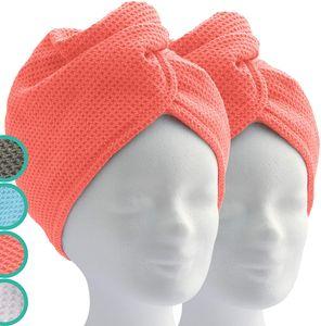 Haarturban Turban Handtuch mit Knopf (2 Stück Coral) Mikrofaser Handtuch für Kopf und Lange