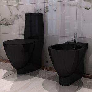 Mllaid Keramik Toilette & Bidet Set Schwarz