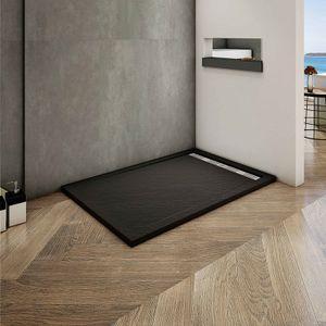 80x110x3cm Rechteck/Quadrat Duschtasse Schwarz Stein-Effekt Duschwanne Für Duschkabine Duschwand
