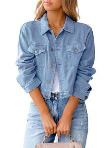Damen kurze Jeansjacke kurzes schmales Oberteil,Farbe: Hellblau,Größe:M