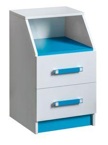 Kinderzimmer - Kommode Frank 15, Farbe: Weiß / Blau - 67 x 40 x 40 cm (H x B x T)
