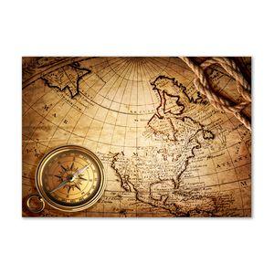 Tulup® Leinwandbild - 100x70 cm - Wandkunst - Drucke auf Leinwand - Leinwanddruck  - Landkarten & Flaggen - Braun - Kompass Karte