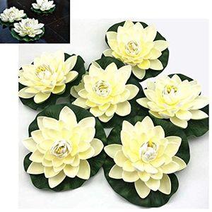 Künstliche schwimmende Schaum Lotusblumen - 6PCS Seerose Pad Ornamente, Elfenbein Weiß, Perfekt für Patio Koi Teich Pool Aquarium Hausgarten Hochzeitsfeier Special Event Dekoration