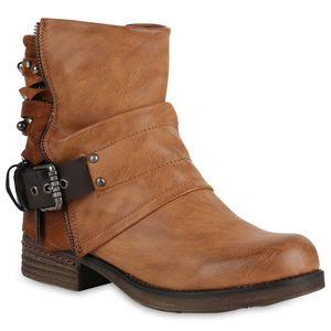 Mytrendshoe Gefütterte Damen Biker Boots Glitzer Stiefeletten Nieten Schuhe 818930, Farbe: Hellbraun, Größe: 37