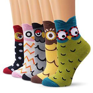 5 Paare Damen Lustige Socken mit Zehen Baumwoll Fünf Finger Socken mit Motiv Karikatur Katzenmuster, Weihnachten Geschenkideen für Frauen Mädchen Katzenliebhaber