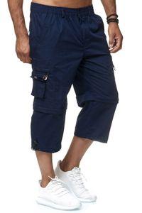 Herren Cargo Shorts Freizeit Zip Hose 3/4 Schlupfhose Verstellbare Beinlänge, Farben:Blau, Größe Shorts:XL