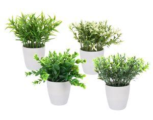Kunstpflanze im weißen Topf - 4er Set - Deko Pflanze