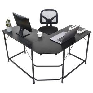Eckschreibtisch, L-förmiger Computertisch, Bürotisch , Arbeitszimmer Büromöbel , platzsparend Winkelschreibtisch , PC-Tisch Officetisch Arbeitstisch , Metallrahmen ,Vintage Schwarz