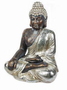 Formano Buddha 64 cm silber-antik Skulptur Gartendekoration Outdoor