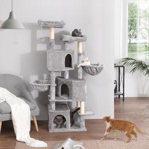FEANDREA Kratzbaum, XXL 164 cm, mit 3 Katzenhöhlen, stabil, hellgrau PCT98W