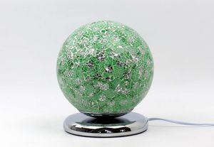 Formano Mosaik-Kugel 25 cm grün Glas Kugelleuchte mit Touchfunktion