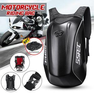 Motorrad Rucksack 30L Fahrradrucksack Hartschale Gepäcktasche Carbon Schwarz DE