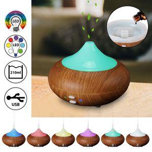 Aromaöldiffusor Duftlampe mit Farbwechsel Aroma Diffusor in Holzoptik mit Wellness-Beleuchtung  LED USB