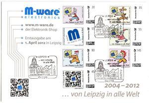 FDC m. 7 Marken 2012 'von Leipzig in alle Welt', M-ware® ID12880