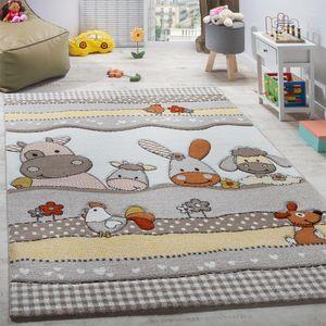 Kinderteppich Kinderzimmer Lustige Bauernhof Tiere Konturenschnitt Beige Grau, Grösse:Ø 120 cm Rund