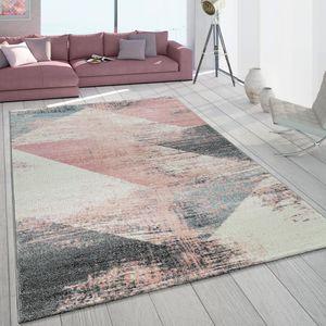Teppich Wohnzimmer Grau Weiß Rosa Pastell Dreieck Muster Vintage Design Kurzflor, Grösse:160x230 cm