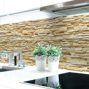 Küchenrückwand Steinwand Hell Premium Hart-PVC 0,4 mm selbstklebend - Direkt auf die Fliesen, Größe:Materialprobe A4