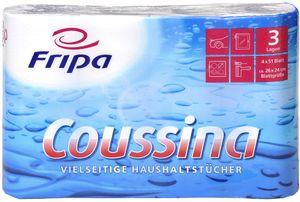 Fripa Küchenrolle Coussina 3-lagig weiß Tissue 4 Rollen à 51 Blatt
